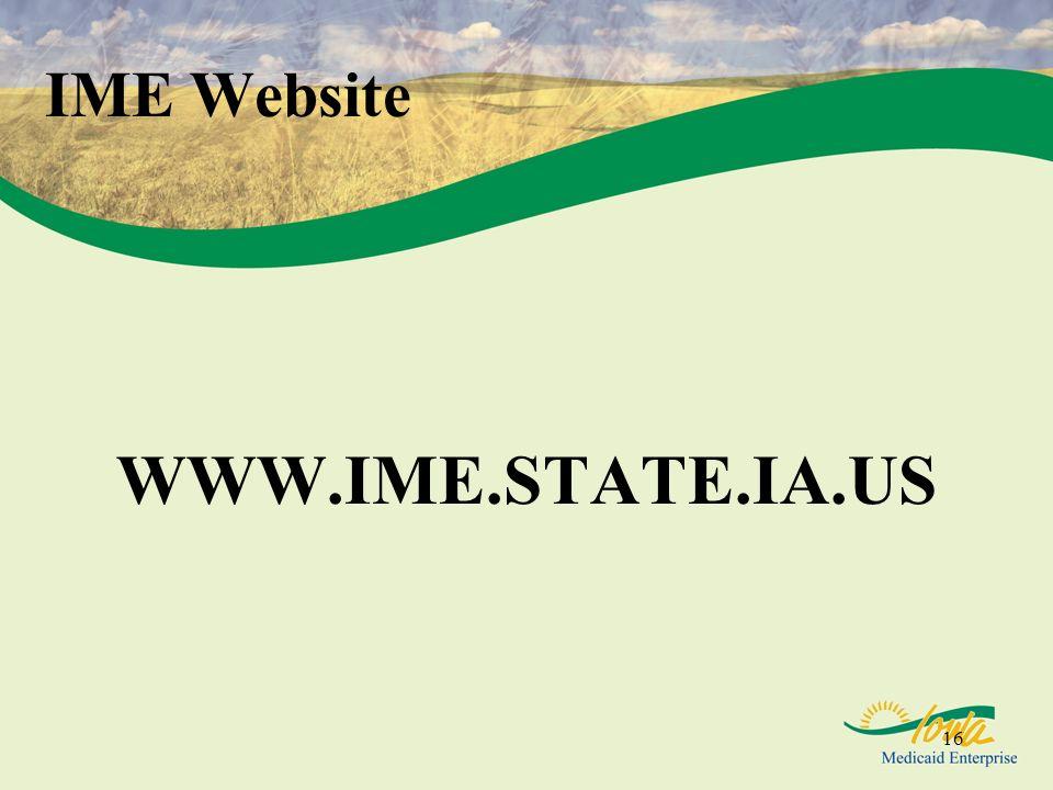 IME Website WWW.IME.STATE.IA.US