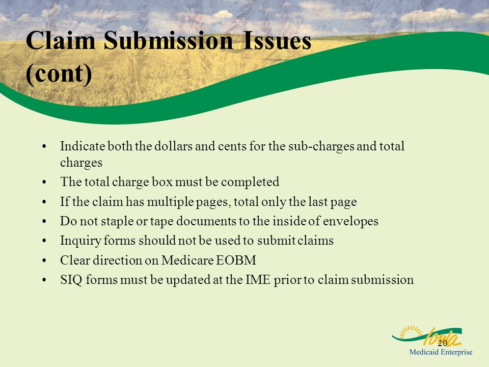 Claim Submission Issues (cont)