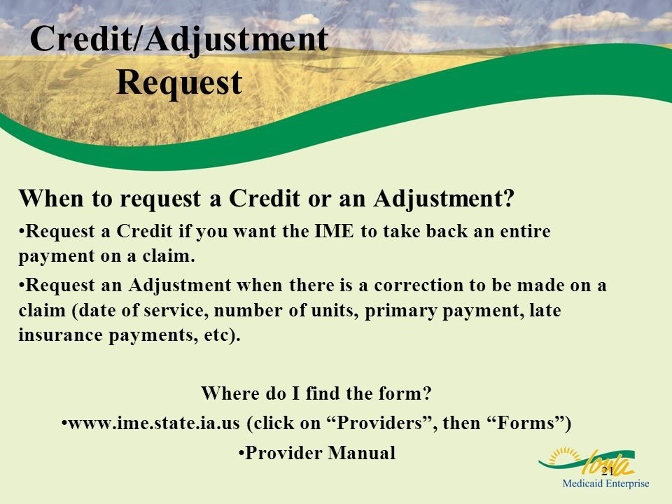 Credit/Adjustment Request