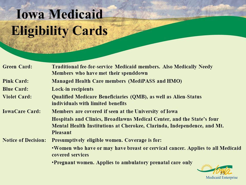 Iowa Medicaid Eligibility Cards