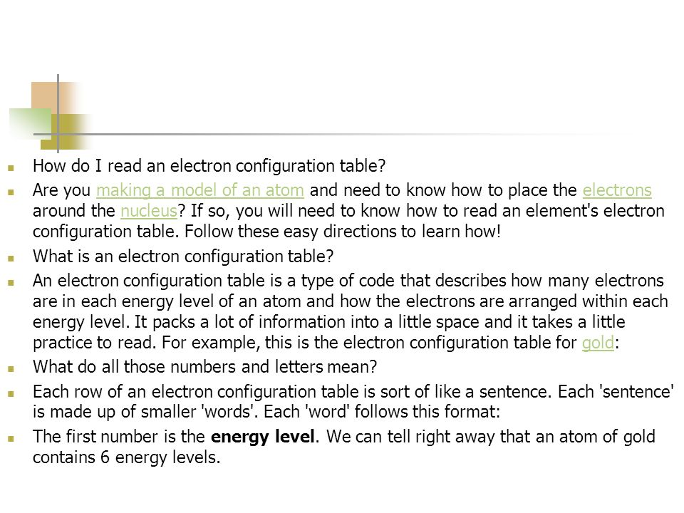 How do I read an electron configuration table
