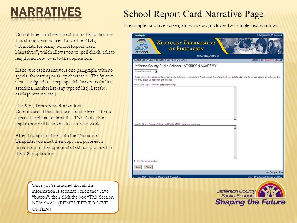 NARRATIVES School Report Card Narrative Page