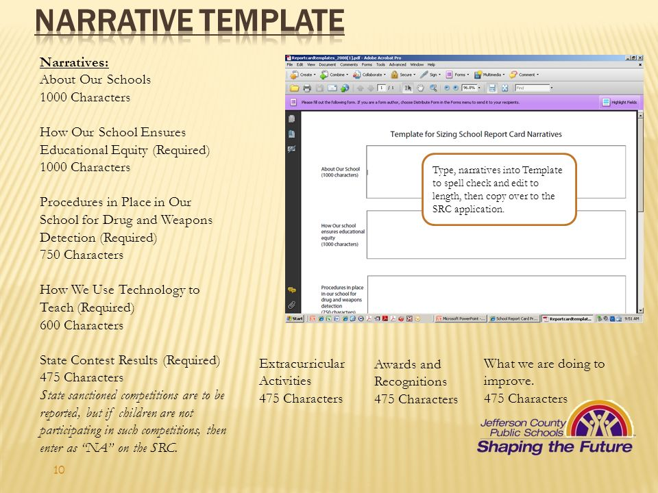 NARRATIVE template Narratives: About Our Schools 1000 Characters