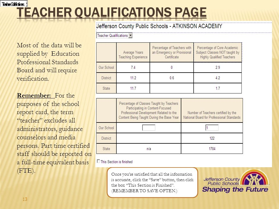 Teacher qualifications Page