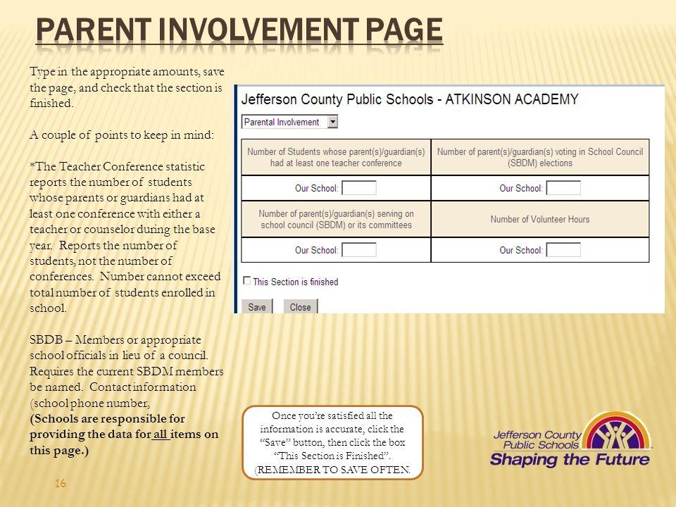 Parent Involvement page