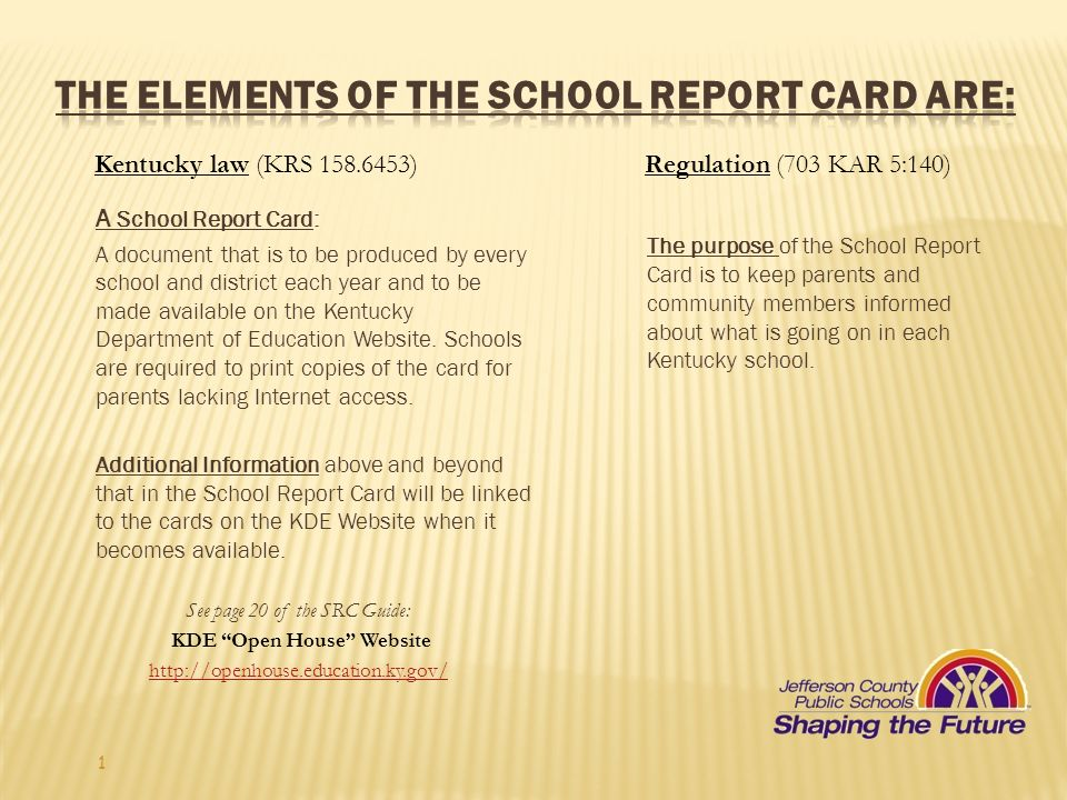 The Elements of the School Report Card are: