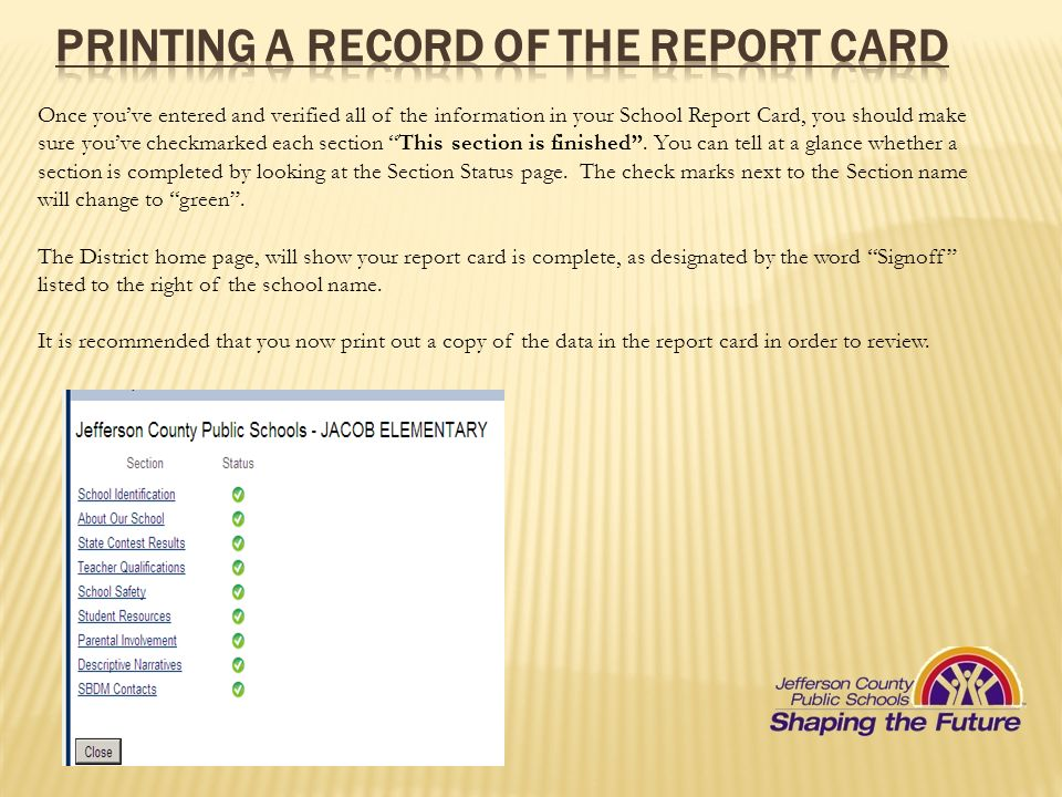 Printing a record of the report card