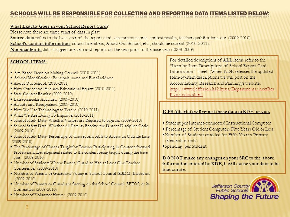 Schools will be responsible for collecting and reporting data items listed below: