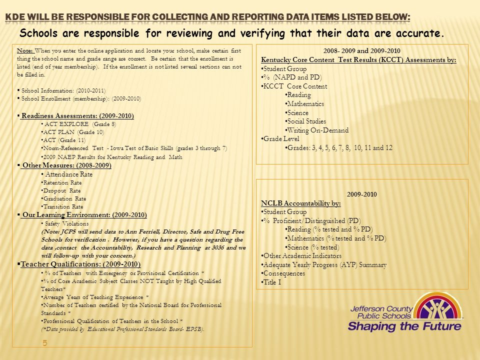 KDE will be responsible for collecting and reporting data items listed below: