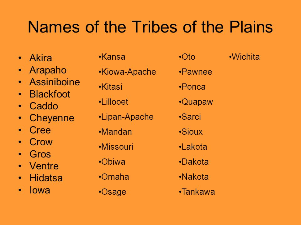 Names of the Tribes of the Plains