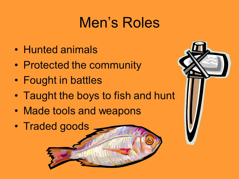 Men's Roles Hunted animals Protected the community Fought in battles
