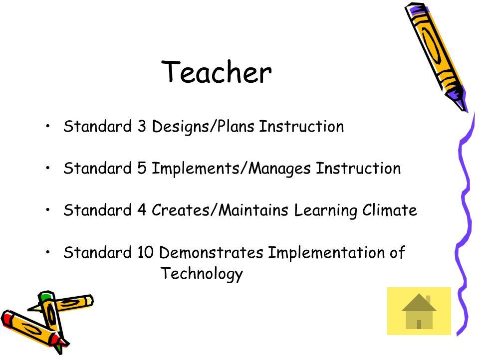Teacher Standard 3 Designs/Plans Instruction