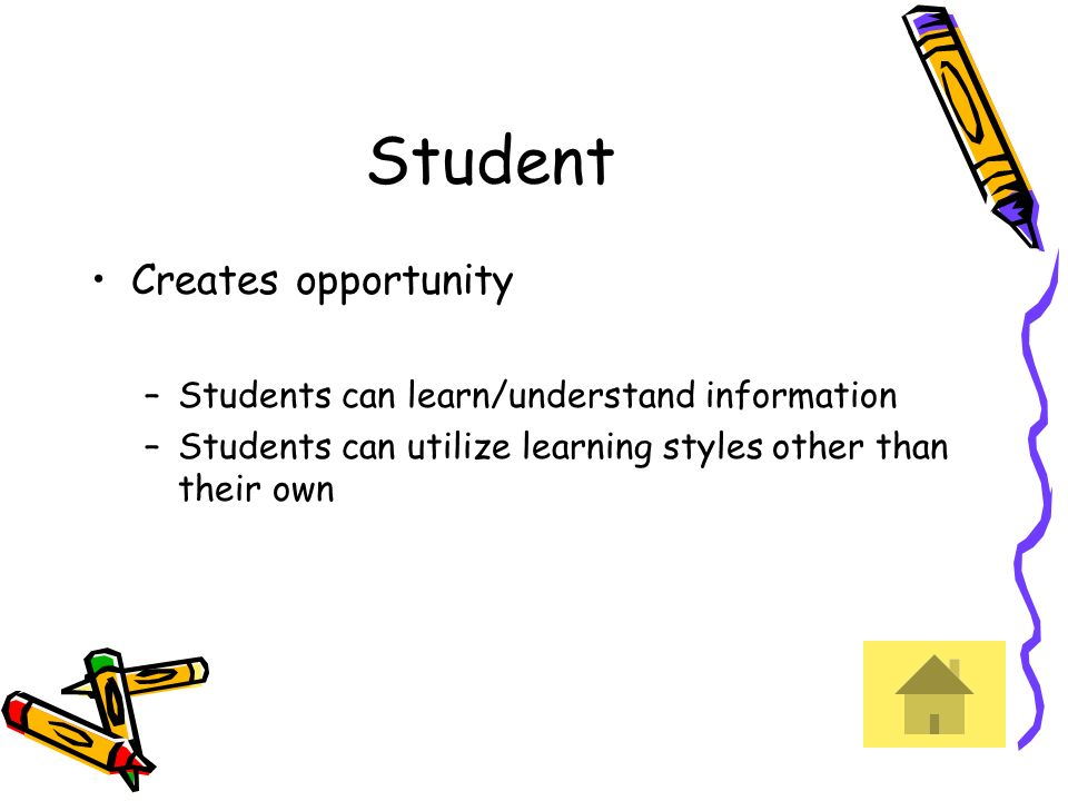 Student Creates opportunity Students can learn/understand information