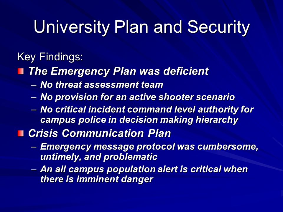 University Plan and Security