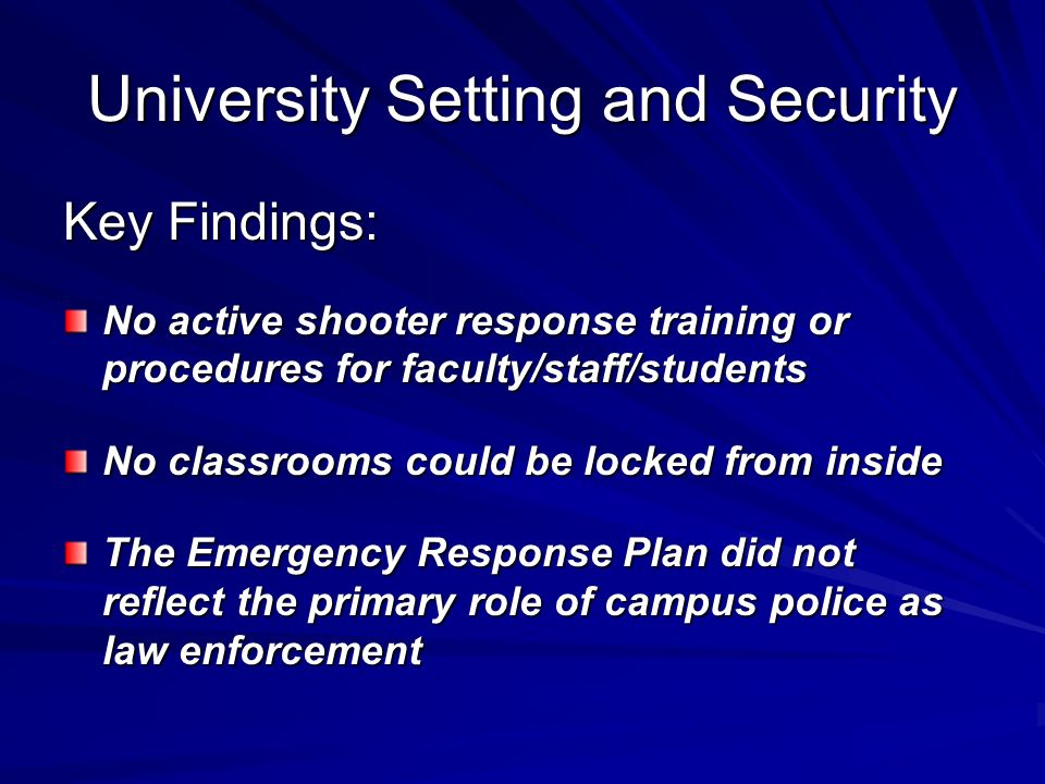 University Setting and Security