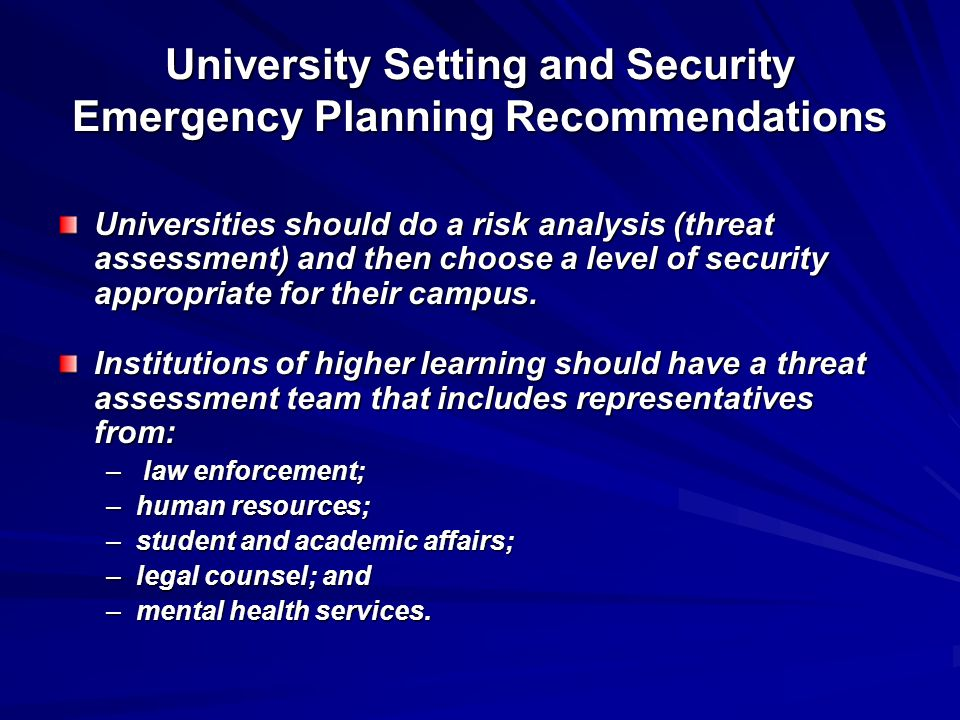 University Setting and Security Emergency Planning Recommendations