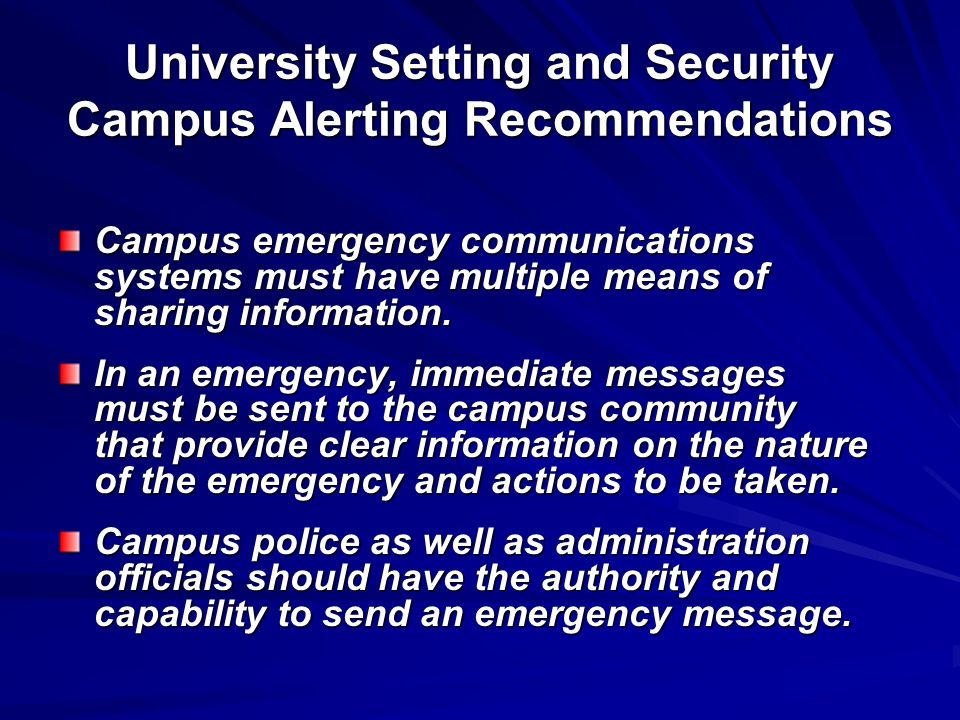 University Setting and Security Campus Alerting Recommendations