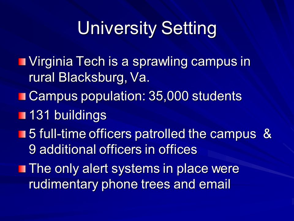 University Setting Virginia Tech is a sprawling campus in rural Blacksburg, Va. Campus population: 35,000 students.