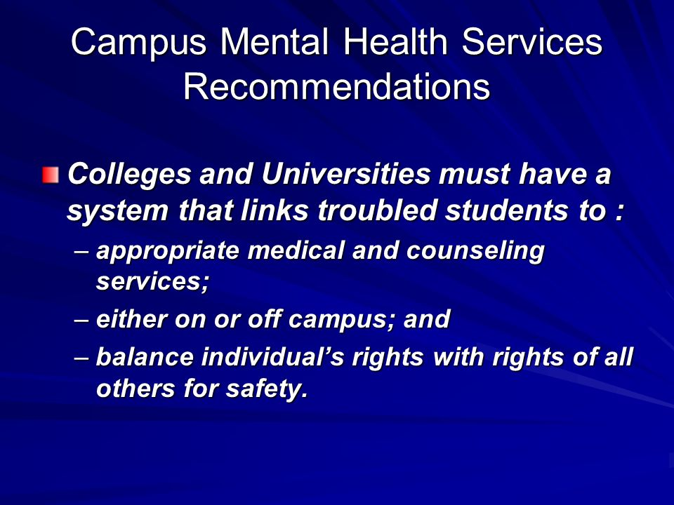 Campus Mental Health Services Recommendations