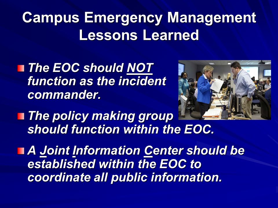Campus Emergency Management Lessons Learned