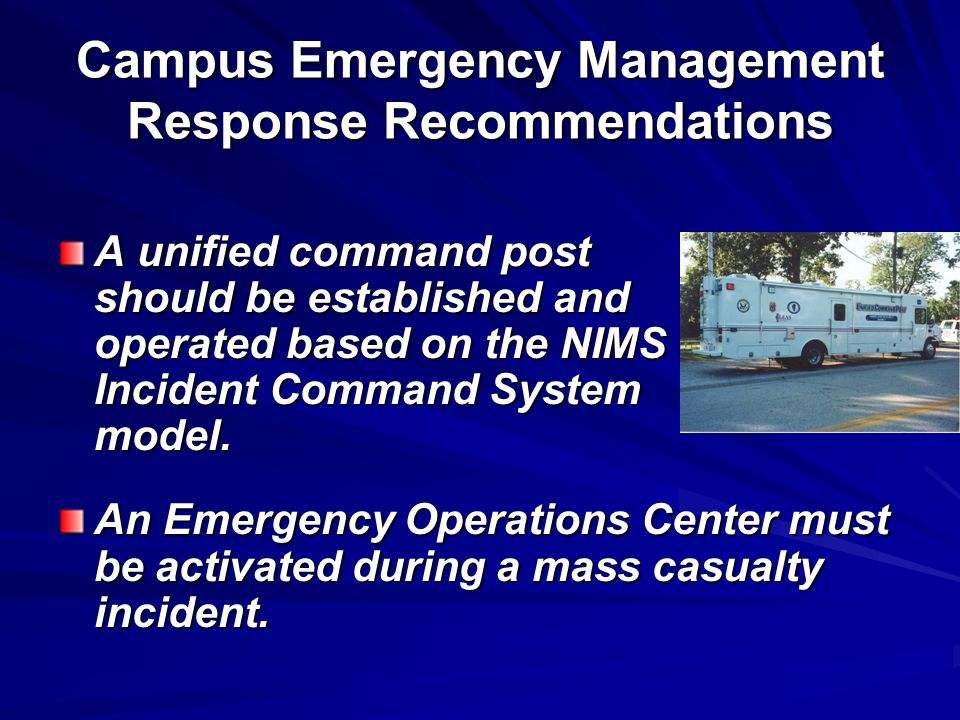 Campus Emergency Management Response Recommendations