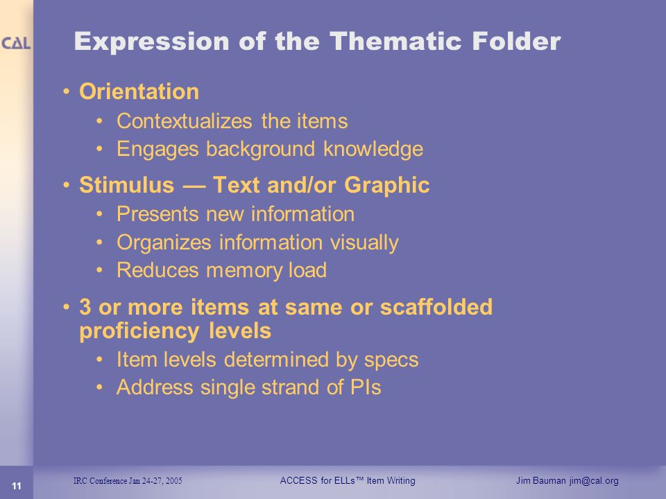 Expression of the Thematic Folder