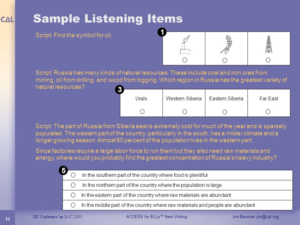 Sample Listening Items
