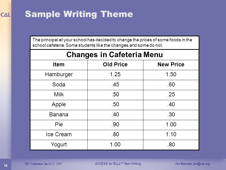 Changes in Cafeteria Menu