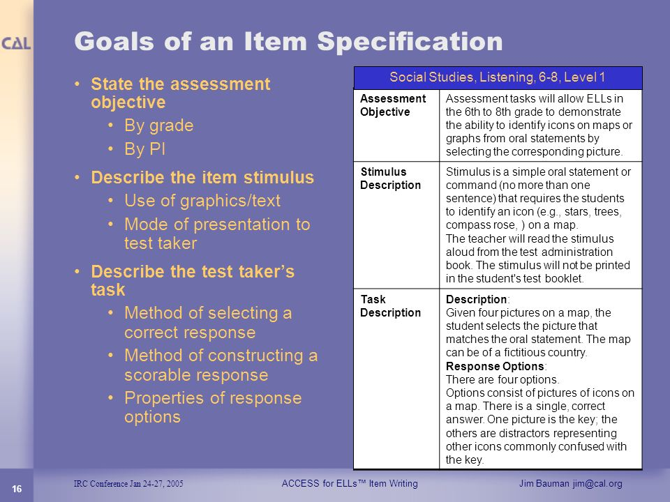 Goals of an Item Specification
