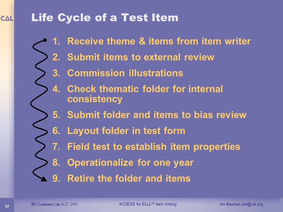 Life Cycle of a Test Item