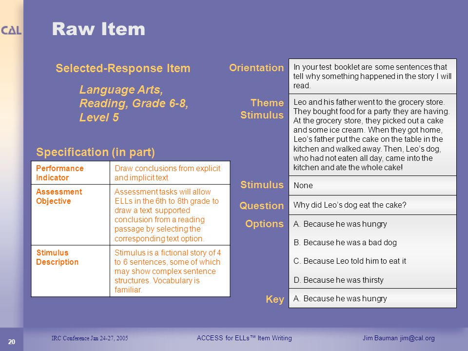 Raw Item Selected-Response Item