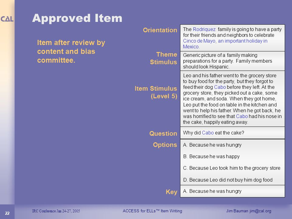 Approved Item Item after review by content and bias committee.