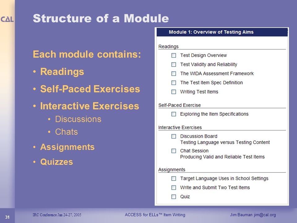 Structure of a Module Each module contains: Readings