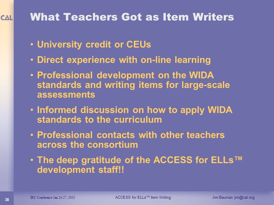 What Teachers Got as Item Writers