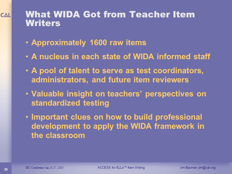 What WIDA Got from Teacher Item Writers