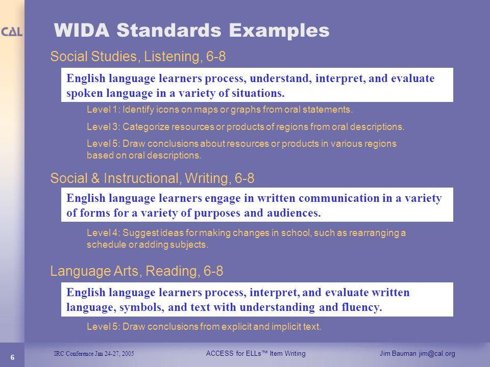 WIDA Standards Examples