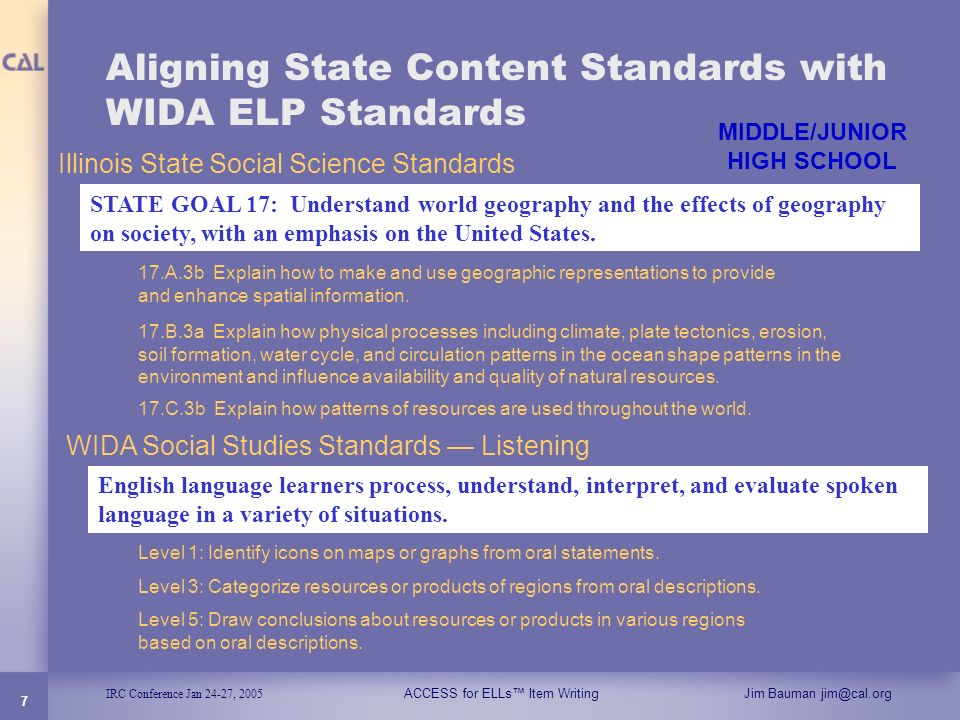 Aligning State Content Standards with WIDA ELP Standards