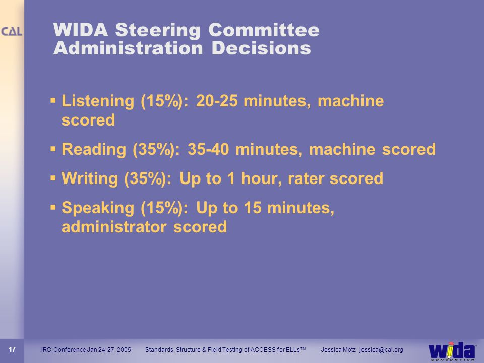 WIDA Steering Committee Administration Decisions