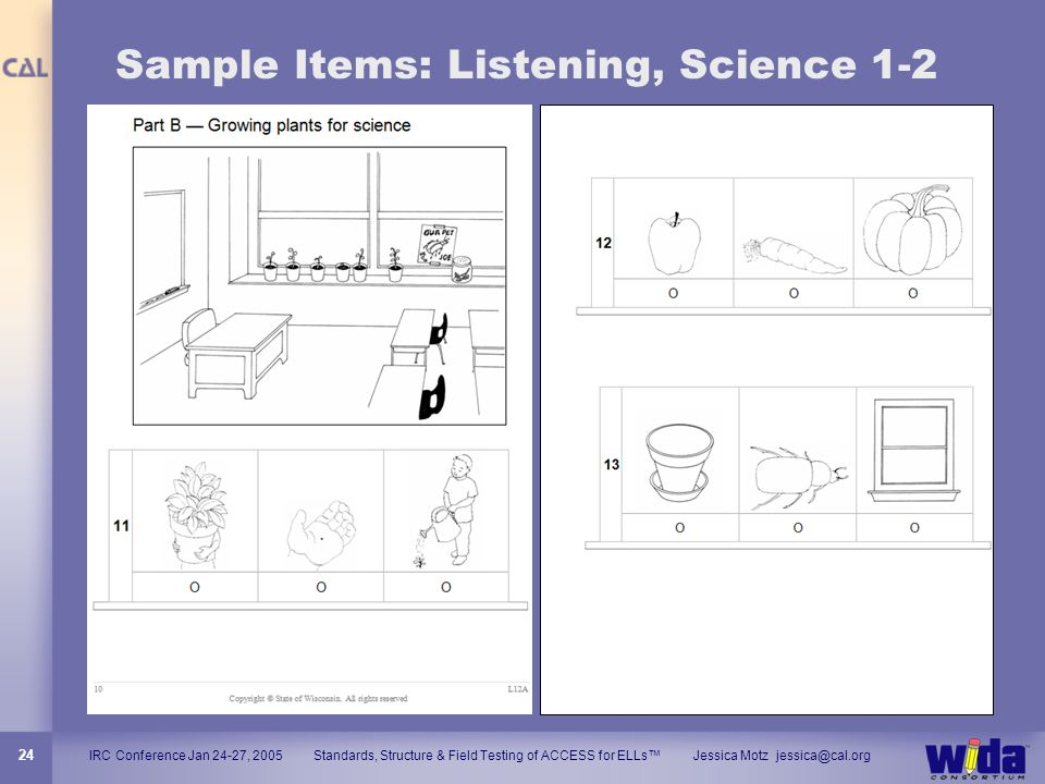 Sample Items: Listening, Science 1-2