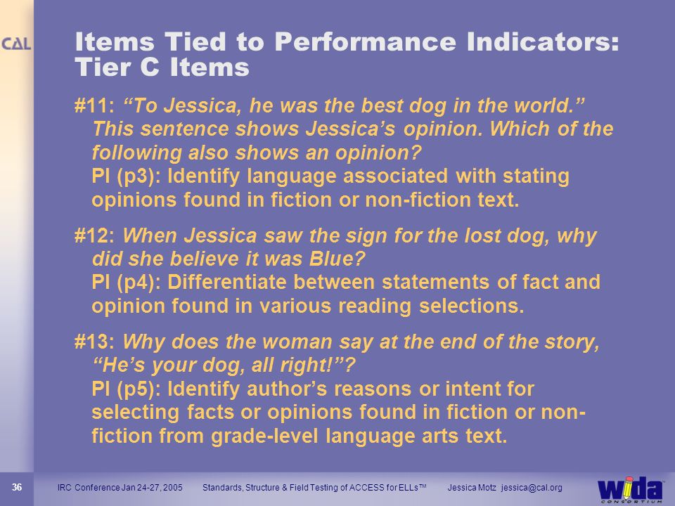 Items Tied to Performance Indicators: Tier C Items