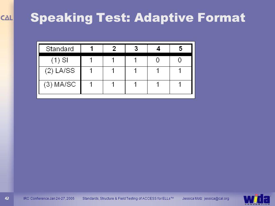 Speaking Test: Adaptive Format