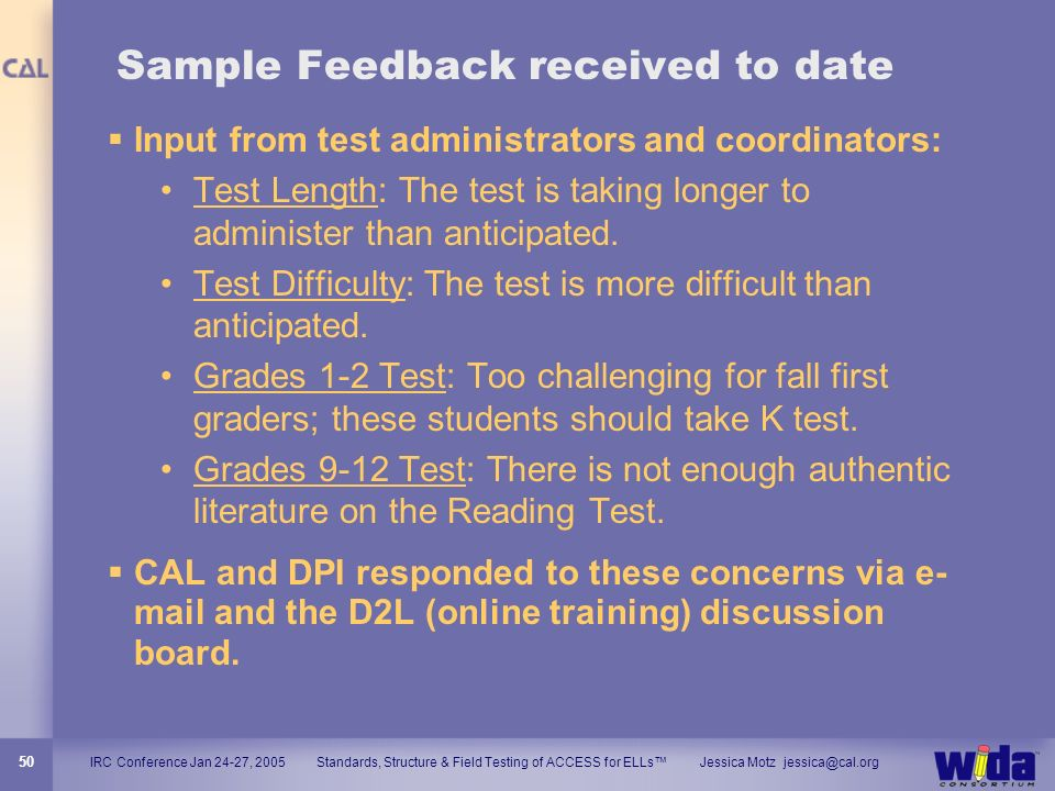 Sample Feedback received to date