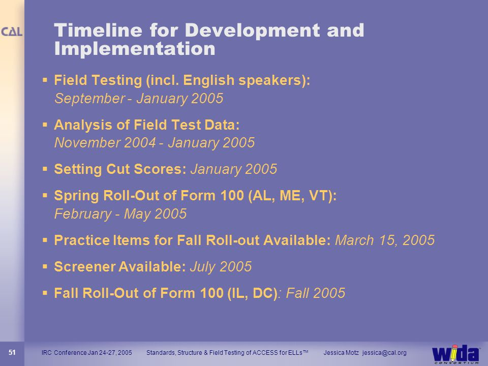 Timeline for Development and Implementation