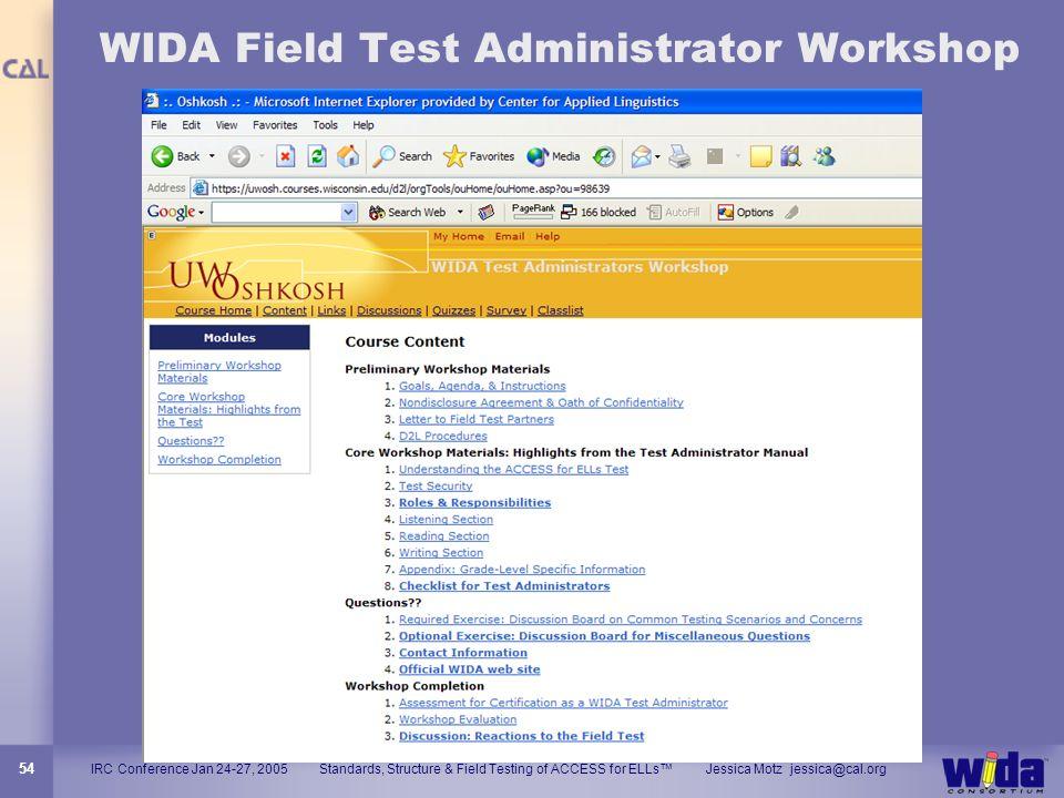 WIDA Field Test Administrator Workshop