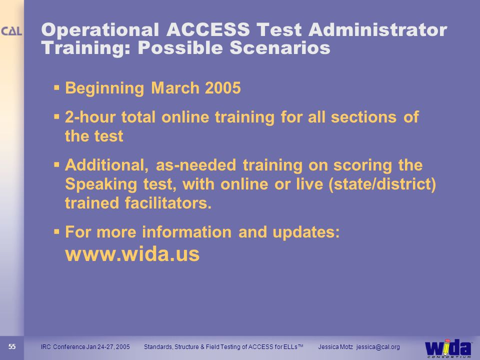 Operational ACCESS Test Administrator Training: Possible Scenarios