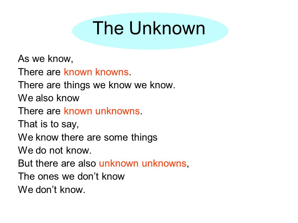 The Unknown As we know, There are known knowns.