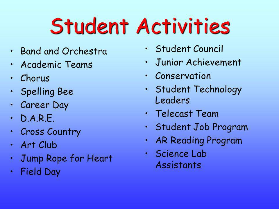 Student Activities Student Council Band and Orchestra