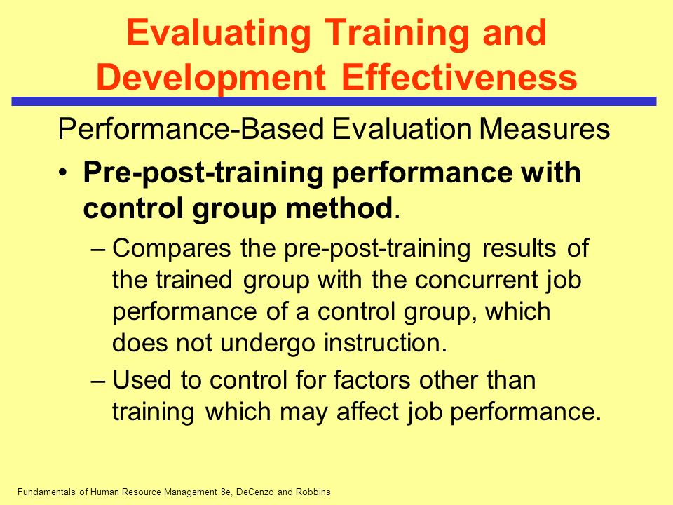 Evaluating Training and Development Effectiveness