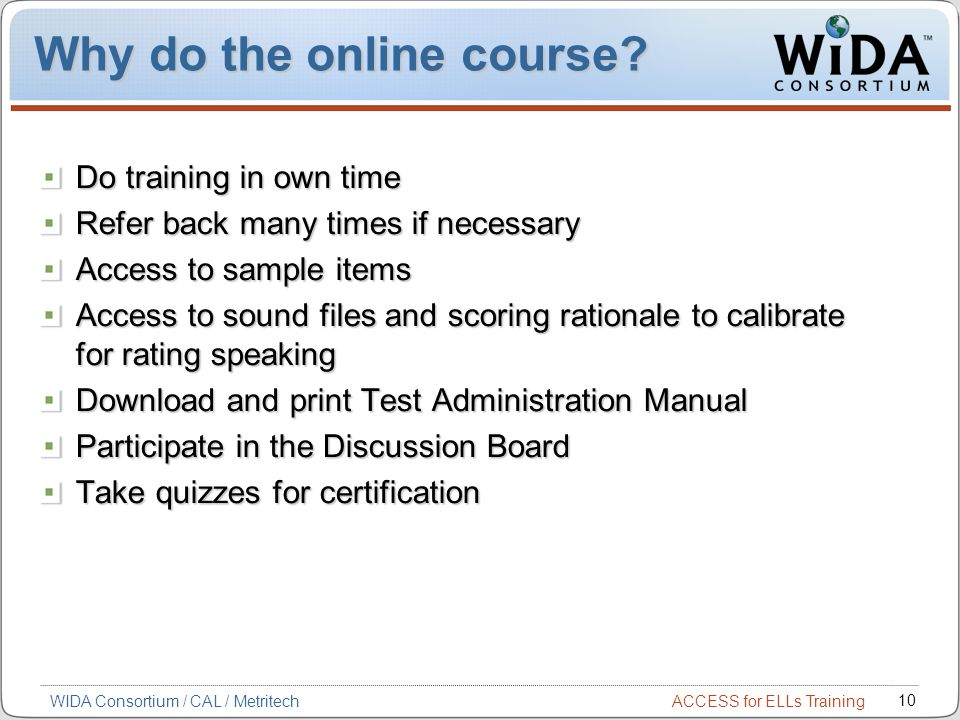 Why do the online course