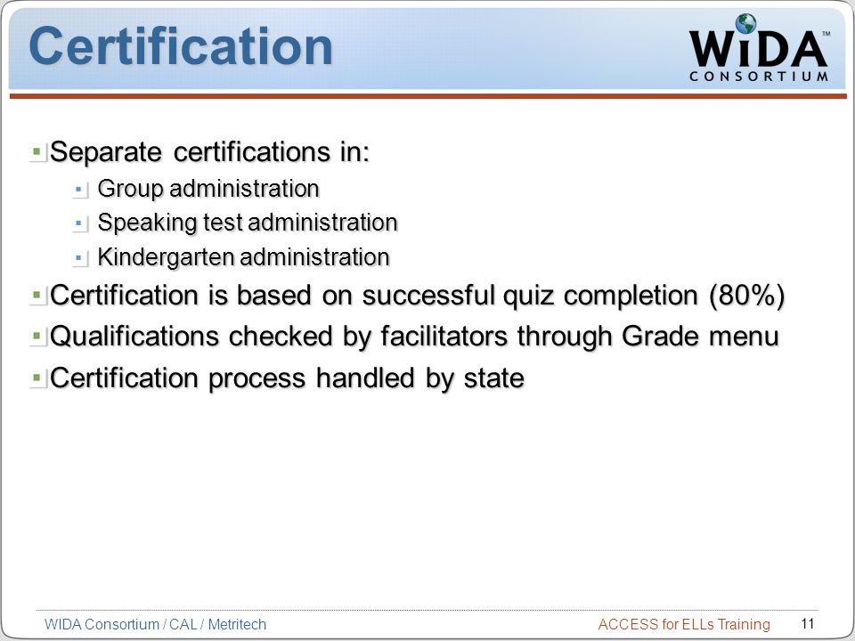 Certification Separate certifications in:
